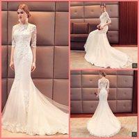 off white lace dresses venda venda por atacado-Mermaid White Lace vestido frisado apliques de casamento fora do ombro meia manga Moda Vestidos de casamento Hot Sale