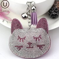 Wholesale cat crystal keychains resale online - UKEBAY New Anime Keychains for Ladies Car Keys Accessories Cute Cat Animal Keychain Girl Gifts Jewellery Bags Key Chain Jewelry Key Ring