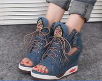 sandalias estilo encaje al por mayor-Envío gratis 2019 nuevo estilo moda mujer Denim Heighten zapatos niñas atan para arriba las sandalias
