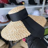 Wholesale large elegant straw hats for sale - Group buy FGHGF New Fashion Women Sun Hat Natural Straw Large Wide Brim Summer Casual Beach Hat Elegant Ladies Floppy Kenturky