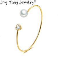 brazalete de amor al por mayor-Pulseras brazalete de plata de la perla de oro Deelan ajustable del amor del corazón abierto Manchet pulseras circuito simple coreano bedels de la Mujer