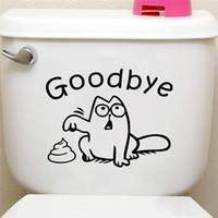 Wholesale shop bathroom decor for sale - Group buy Cute Black Cat Say Goodbye Toilet Wall Decals Bathroom Shop Window Car Tank Home Decor Cartoon Animal Stickers Vinyl Mural Art