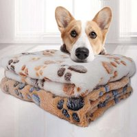 ingrosso cassa morbida dell'animale domestico-Molle del cane Letto con Cute Dog Paw Stampe Reversible Fleece Crate Pet Bed Mat Lavabile in lavatrice dell'animale domestico Liner ZZA1510