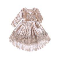 babys samt kleider großhandel-Kinder Kleid Rundhalsausschnitt Gold Samt Langarm Baby Kleid Mädchen Mitte Kalb Quaste Plissee Prinzessin Kleid 45