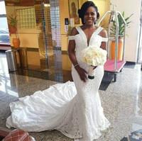 yağlı elbise boyutu toptan satış-Modest Mermaid Dantel Nijeryalı Gelinlik Artı boyutu Fat ile Boncuk 2020 Gelinlik Düğün Da Sposa Gelinlik Güney Afrika