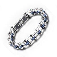 mulheres de jóias de bicicleta venda por atacado-Aço inoxidável polido da mulher dos homens Azul Preto Cubic Zirconia Bicycle Chain Chain Bracelet Jewelry Gift- 9 polegadas (10mm de largura)