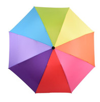 chapéus do sol do arco-íris venda por atacado-DHL Travel 3 Foldable Sun Rain Rainbow Umbrella Hat For Adult Children Windproof Colorful Romantic Outdoor Umbrella nt