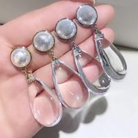 c agujas al por mayor-5.5X2 CM estilo C aleación de plata transparente aretes de aguja Europa y América colección de señoras del oído del perno prisionero de lujo accesorios de joyería regalo vip