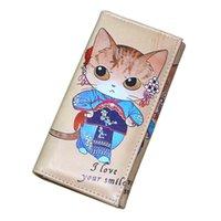kedi clutch çanta toptan satış-Kadın Cüzdan Çanta Sikke çanta Marka Tasarım Moneybags Lady Çantalar Sevimli Kedi Kızlar Uzun Debriyaj Cüzdan Kartları KIMLIK Tutucu Burse Çantası