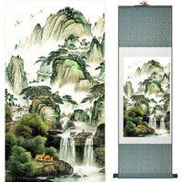 cuadros de aceite de seda al por mayor-Desplazamiento chino Pintura Paisaje Arte Pintura Hogar Decoración Imagen