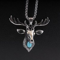 Wholesale animal pendent jewelry resale online - Stainless Steel Vintage Deer Necklace Pendent Men Turquoise Deer Antlers Animal Necklace Christmas Jewelry