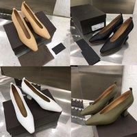 talons d'amande achat en gros de-Talon haut de luxe en cuir talon épais sandales sandales POMPES EN NAPPA DREAM mode féminine ALMOND Sandals 6.5cm