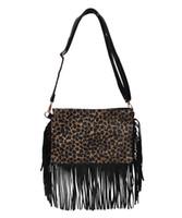 Wholesale cross sling purse for sale - Group buy Tassel Crossbody Bag Leopard Fashion Handbag Shoulder Purse Customized Pillow Shape Canvas Sling Bags DOM