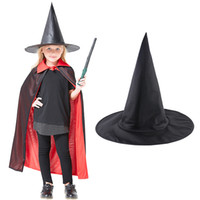 черный реквизит оптовых-Halloween Witch Hat Costume Props Wider Reliable Adult Womens Black Witch Hat For Halloween Costume Party Accessory Dropshipping