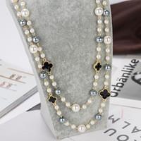 14mm gold filled necklace بالجملة-إنه خيار جيد لأجازة طويلة تقليد لؤلؤة طويلة قلادات للنساء أنيقة حزب المجوهرات قلادة طبقة مزدوجة