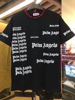 camisa musculosa negra manga larga al por mayor-Moda Hiphop streetwear Palm Angels Cuello redondo para hombre de la letra de algodón de impresión de manga corta camiseta Tee envío gratis