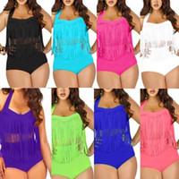 Wholesale plus size swimwear fringes online - Women High Waist Fringe Tassels Plus Size Bikini Sexy Solid Swimwear Summer Beachwear Set Bra Swimsuit Bathing Suits AAA360