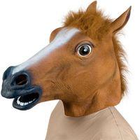 máscara de cabeça de cavalo unicórnio venda por atacado-Cosplay cavalo Máscara de Cabeça Chapelaria de Chocolate Halloween Costume Theater Prop máscara Mascara Carnaval Decoração Novidade Unicorn Latex presente de Borracha