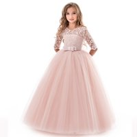 Wholesale ribbons for clothes for sale - Classicial Baby Girls Princess Lace Tulle Dress Children Birthday Party Chirstmas Clothes Piano wedding Costume For Ys girls