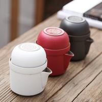 cerâmica de chá venda por atacado-Pottery Um Pote Duas Xícaras de Viagem Portátil Escritório Doméstico Kung Fu Jogo de Chá Chinês Viagem Conjuntos de Chá De Cerâmica