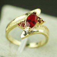 olho de cavalo masculino venda por atacado-Multi-cor incrustada de zircão anéis de casamento cavalo olho feminino masculino ouro preenchido moda festa de casamento anel de noivado simples jóias