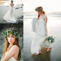 Wholesale sweetheart wedding dresses cheap online - Sexy Beach Wedding Dresses Sweetheart vestidos de novia Lace Applique Chiffon Skirt Corset Back Cheap Bridal Gowns