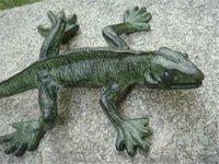 ingrosso ornamenti da giardino animale-American Country Style Painted Lizard Decorazione della casa Ghisa Animali Figurine Verde scuro Garden Yard Lawn Cottage Ornament