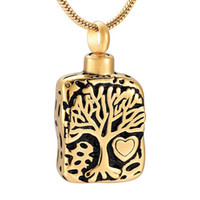 Wholesale pet urn pendants resale online - Tree of Life Square Stainless Steel Cremation Jewelry For Ashes Urn Pendant For Pets Human Commemorative Necklaces Men women IJD9910