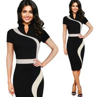 vestidos profesionales de mujer al por mayor-Vestido europeo y americano de las mujeres soporte retro cuello color curva costura lápiz falda oficina cuello blanco profesional falda
