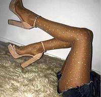 medias de nylon de moda al por mayor-Girls New Fishnet Diamond Pantyhose Fashion Shiny Net Medias Rhinestone Mesh Nylon Medias Medias 4 colores
