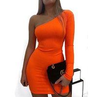 kadınlar için moda kulüp giyim toptan satış-BKLD Bir Omuz Seksi Bodycon Mini Elbise Kadın Moda Neon Elbise Uzun Kollu Kulübü Parti Elbiseler Yaz Elbiseler Kadın 2019