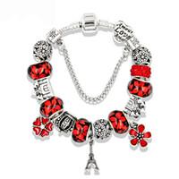 pulseiras eiffel venda por atacado-5 cores Eiffel Tower Pingente Pulseira para Pandora Style Crystal Jewelry Atacado