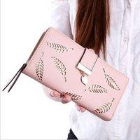 koreanische stil brieftasche großhandel-Neue koreanische Damenmappe lange Artmode aushöhlen Handtaschen verlässt Reißverschlussschnalle Mappenkartenpaket