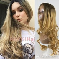 Wholesale wavy synthetic full lace wig for sale - Group buy European American wigs Women Blonde Gradient Long Curly Synthetic Wig Full Lace Wig Fashion Wavy wig dropship wig net