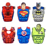 Wholesale boy girl swimming suit resale online - Kid Cartoon Life Jacket Stereoscopic Muscle Buoyancy Vest Boy Girl Baby Floating Suit Swim Supplies Red Blue Foam dl C1