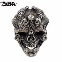 ingrosso monili d'argento del drago d'argento-ZABRA Reale 925 Sterling Silver Skull Ring Uomo regolabile Dragon Ring Punk Rock Molti scheletri Mens Gothic Halloween Jewelry
