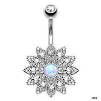 endüstriyel delici halkalar toptan satış-Kutsal Lotus Göbek Piercing Belly Button Yüzükler Endüstriyel Piercing