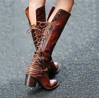 Wholesale restore boots resale online - Package mail new Restoring ancient ways Platform boot tassel Bind the female boots boots High heels Large size to