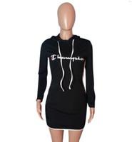 ingrosso abito nero per le grandi donne-Donne di estate Abito da Big C stampati Skinny abiti firmati Vestito Nero Con Moda Donna Cappuccio Abbigliamento