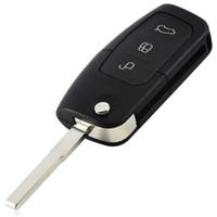 tapa remota modificada al por mayor-3 botones con tapa abatible modificada Uncut Car Blank Key Shell Remote Fob Cover para Ford Focus Fiesta C Max Ka