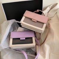 Wholesale color block tote bag resale online - Women s Color Block PU Leather Quality Messenger Bag Simple Shoulder Messenger Western Style Tote Bag