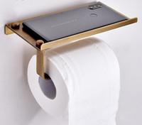 zeitgenössisches badezimmerzubehör großhandel-Qualitativ hochwertige antike schnitzen toilettenrolle papierregal mit telefonregal wand montiert bad papierhalter antike gold schutt bronze