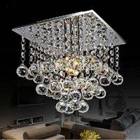 moderno lustre livingroom venda por atacado-LED Praça Lustre de cristal Lustre Modern Mini lâmpada do teto para Quarto Sala Restaurante aparelho de iluminação