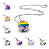 bola gay al por mayor-10pcs Multicolor Nuevo del orgullo gay del arco iris doble cara collar de perlas colgante de cristal Bola de cristal de regalo de la cadena de joyería de moda para los amantes de las mujeres