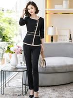 iş için resmi blazerler toptan satış-Resmi Bayanlar Siyah Blazer Kadın Iş Takım Elbise Resmi Ofis Çalışma Aşınma Unform Pantolon ve Ceket Seti OL Stil Suits
