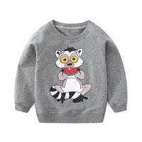 jungen grau kapuzenpullis großhandel-Infant Boys New Coming Spring Oansatz Sweatshirts bedruckte Katze kleines Kind lässig grau Hoodies
