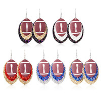 Wholesale leaf accessories for sale - Group buy Football Sports Pu Leather Earrings Rugby Sequins Leaf Earrings Women Lady Fashion Accessories Jewelry style RRA2091