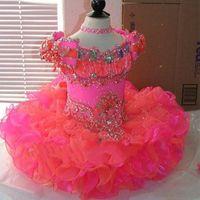 bebek kız mercan elbisesi toptan satış-Prenses Cupcake Çiçek Kız Elbise Cap Sleeve Kristal Mercan Pembe Organze Mini Kısa Balo Kız Pageant elbise Küçük Bebek Çocuk kıyafeti