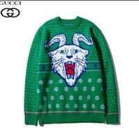 lã verde pulôver venda por atacado-19 nova camisola estrelas chifre cabeça lã verde ram tigre jacquard de tricô camisola com entrega gratuita