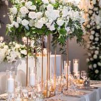 event vase großhandel-10 STÜCKE Gold Blumenvase Bodenvasen Spalte Stand Metall Straße Blei Hochzeitsmittelstück Blume Rack Für Event Party Dekoration